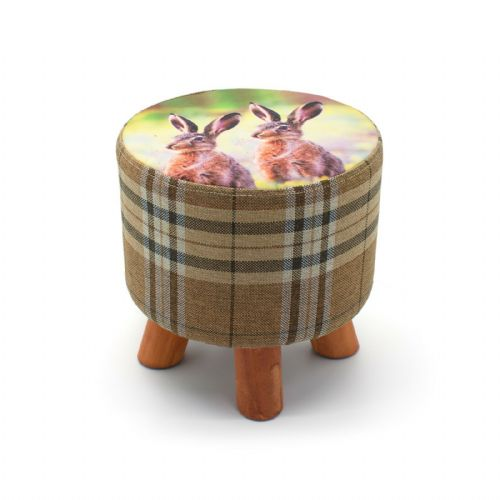 ROUND OTTOMAN FOOTSTOOL FOOTREST POUFFE PADDED CHAIR SEAT STOOL - RABBITS  28 x 28cm